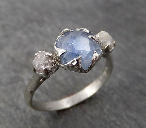 Montana Sapphire Partially Faceted Multi stone Rough Diamond 14k White Gold Engagement Ring Wedding Ring Custom Gemstone Ring 1728