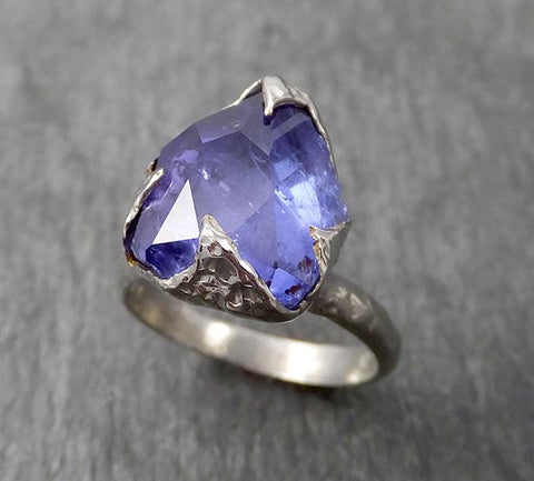 Partially faceted Tanzanite Crystal White Gold Ring Rough Uncut Gemstone Solitaire recycled 18k stacking cocktail statement byAngeline 1727