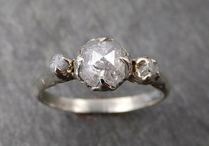 Faceted Fancy cut white Diamond Engagement 18k White Gold Multi stone Wedding Ring Rough Diamond Ring byAngeline 1733