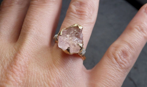 Morganite Raw Uncut Diamond Yellow 14k Gold Engagement Ring Multi stone Wedding Ring Custom One Of a Kind Gemstone Bespoke byAngeline 2101