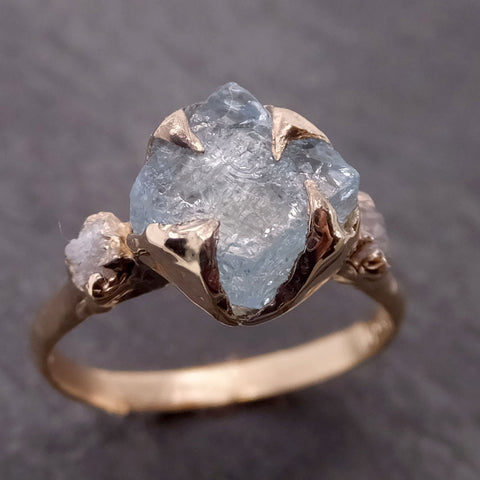 Raw Uncut Aquamarine Diamond yellow Gold Engagement Ring Multi stone Wedding 14k Ring Custom Gemstone Bespoke Three stone Ring byAngeline 2103