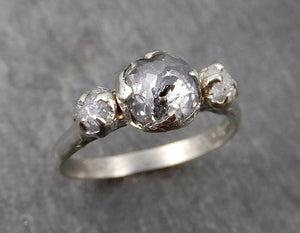 Fancy cut salt and pepper Diamond Multi stone Engagement 18k White Gold Wedding Ring Rough Diamond Ring byAngeline 1730