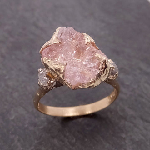 Morganite Raw Uncut Diamond Yellow 14k Gold Engagement Ring Multi stone Wedding Ring Custom One Of a Kind Gemstone Bespoke byAngeline 2102