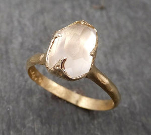 Partially Faceted Moonstone Yellow Gold Ring Gemstone Solitaire recycled 14k statement cocktail statement 1740