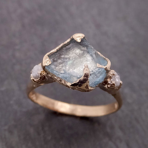 Raw Uncut Aquamarine Diamond yellow Gold Engagement Ring Multi stone Wedding 14k Ring Custom Gemstone Bespoke Three stone Ring byAngeline 2104