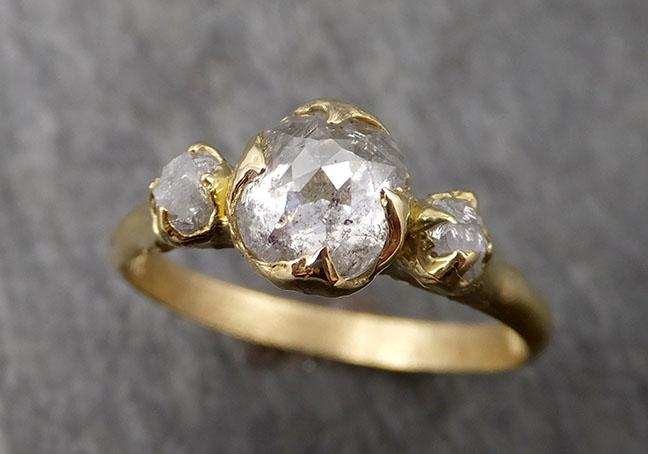 Fancy cut white Diamond Engagement 18k Yellow Gold Multi stone Wedding Ring Stacking Rough Diamond Ring byAngeline 1745