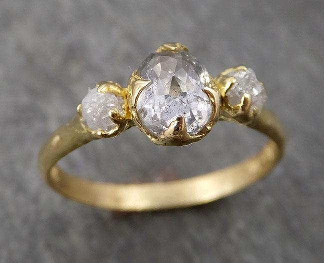 Fancy cut white Diamond Engagement 18k Yellow Gold Multi stone Wedding Ring Stacking Rough Diamond Ring byAngeline 1746