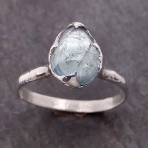 Fancy cut Blue Tourmaline Sterling Silver Ring Gemstone Solitaire recycled cocktail statement SS00031