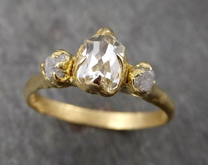 Fancy cut white Diamond Engagement 18k Yellow Gold Multi stone Wedding Ring Stacking Rough Diamond Ring byAngeline 1742