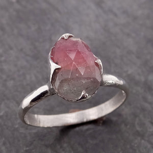 Fancy cut Watermelon Tourmaline Sterling Silver Ring Gemstone Solitaire recycled cocktail statement SS00032