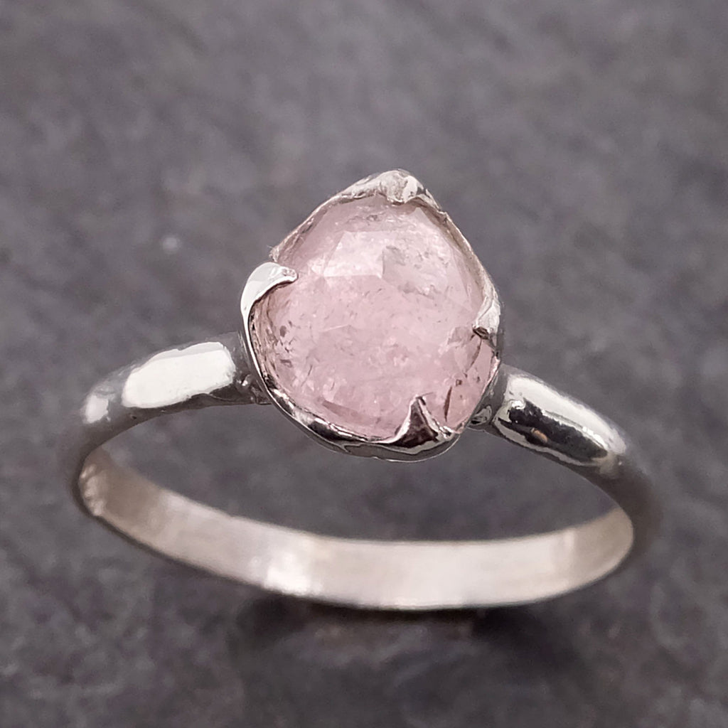 Fancy cut Pink Tourmaline Sterling Silver Ring Gemstone Solitaire recycled cocktail statement SS00033