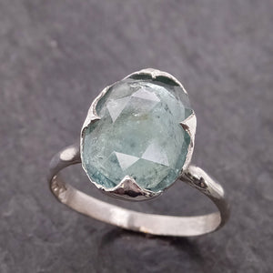 Fancy cut Blue Tourmaline Sterling Silver Ring Gemstone Solitaire recycled cocktail statement SS00034