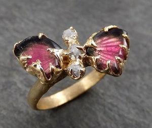 Watermelon Tourmaline Butterfly rough Diamond 14k yellow Gold Ring One Of a Kind Gemstone Ring Bespoke byAngeline 1739