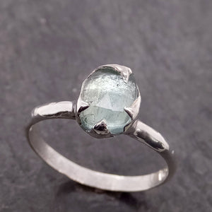 Fancy cut blue Tourmaline Sterling Silver Ring Gemstone Solitaire recycled cocktail statement SS00035