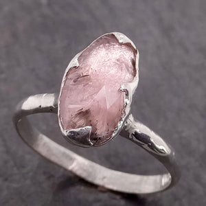 Fancy cut Pink Tourmaline Sterling Silver Ring Gemstone Solitaire recycled cocktail statement SS00036