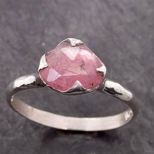 Fancy cut Pink Tourmaline Sterling Silver Ring Gemstone Solitaire recycled cocktail statement SS00037
