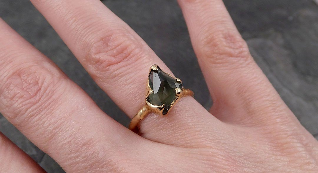 Partially Faceted Sapphire Solitaire 14k yellow Gold Engagement Ring Wedding Ring Custom One Of a Kind Gemstone Ring 1738