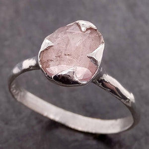 Fancy cut Pink Tourmaline Sterling Silver Ring Gemstone Solitaire recycled cocktail statement SS00038