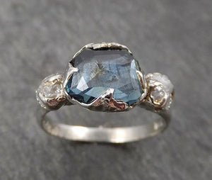Partially faceted blue Montana Sapphire Diamond 18k White Gold Engagement Ring Wedding Ring Custom One Of a Kind Gemstone Ring Multi stone Ring 1750