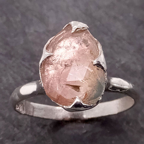 Fancy cut peach Tourmaline Sterling Silver Ring Gemstone Solitaire recycled cocktail statement SS00041
