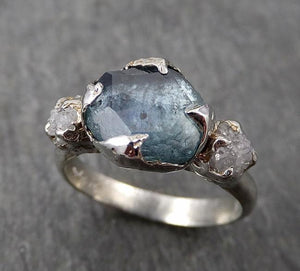 Partially faceted blue Montana Sapphire Diamond 18k White Gold Engagement Ring Wedding Ring Custom One Of a Kind Gemstone Ring Multi stone Ring 1749