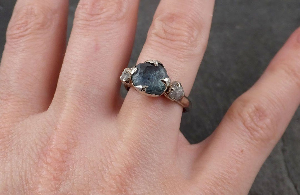 Fancy cut salt and pepper Diamond Solitaire Engagement 18k White Gold Wedding Ring byAngeline 0576 - Gemstone ring by Angeline