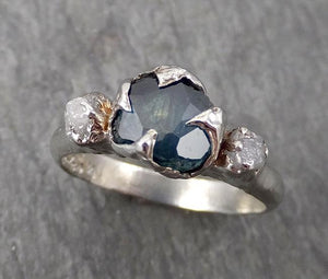 Partially faceted blue-green Montana Sapphire Diamond 18k White Gold Engagement Ring Wedding Ring Custom One Of a Kind Gemstone Ring Multi stone Ring 1751