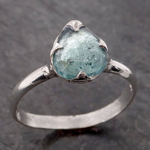 Fancy cut blue Tourmaline Sterling Silver Ring Gemstone Solitaire recycled cocktail statement SS00040