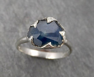 Partially Faceted Montana Sapphire Solitaire 18k white Gold Engagement Ring Wedding Ring Custom One Of a Kind Gemstone Ring 1748