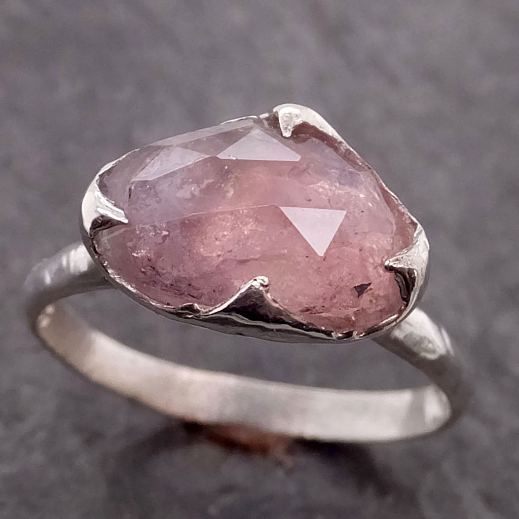 Fancy cut pink Tourmaline Sterling Silver Ring Gemstone Solitaire recycled cocktail statement SS00043