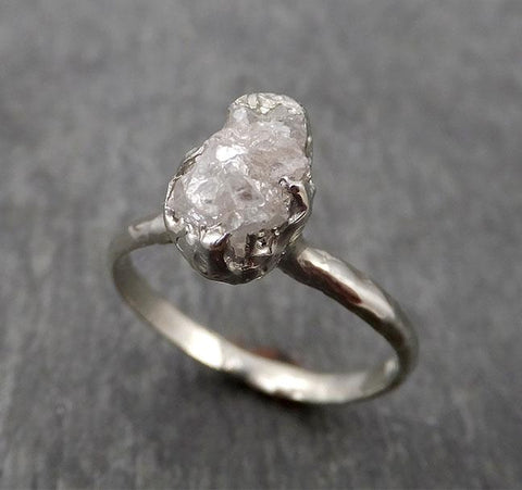 Raw White Diamond Solitaire Engagement Ring 18k White Gold Stacking Rough Diamond byAngeline 1758