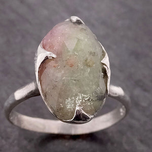 Fancy cut watermelon Tourmaline Sterling Silver Ring Gemstone Solitaire recycled cocktail statement SS00044