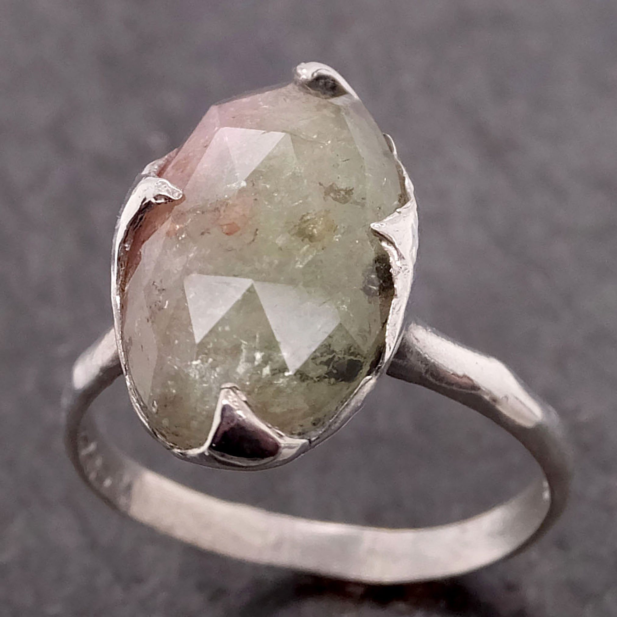 Multi Diamond White Gold Engagement Ring Wedding Band One Of A Kind Rough 0152