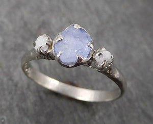 Raw Sapphire Diamond white Gold Engagement Ring light blue Multi stone Wedding Ring Custom One Of a Kind Gemstone Ring byAngeline 1752