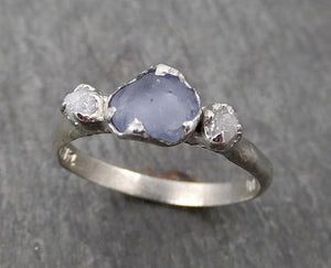 Raw Sapphire Diamond white Gold Engagement Ring light blue Multi stone Wedding Ring Custom One Of a Kind Gemstone Ring byAngeline 1753
