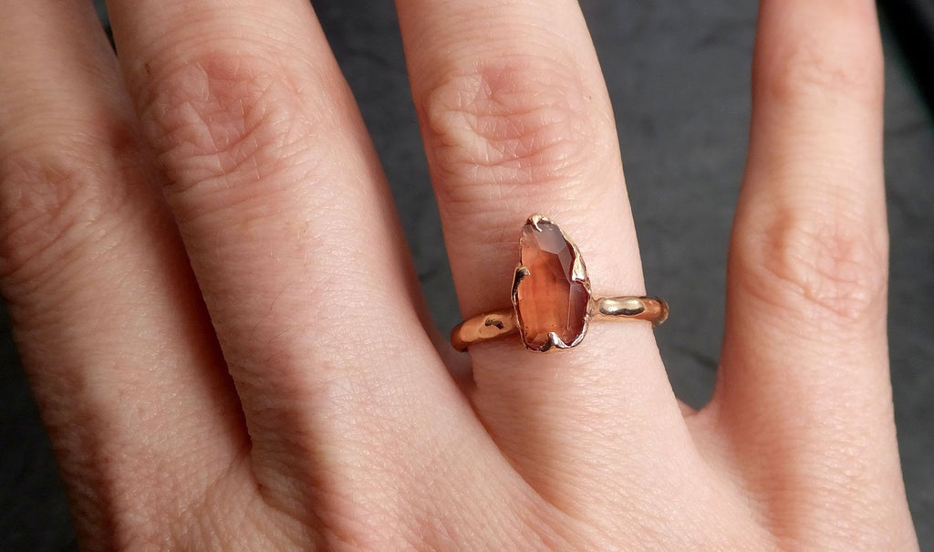 Raw Rough Morganite Diamond 14k Rose gold solitaire Pink Gemstone Cocktail Ring Statement Ring Raw gemstone Jewelry by Angeline 0589