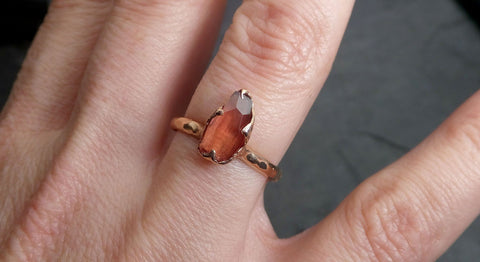 Partially Faceted Sapphire 14k rose Gold statement Cocktail Ring Custom One Of a Kind Gemstone Ring Solitaire 2106
