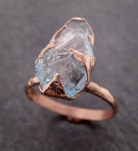 Raw uncut Aquamarine Solitaire Ring Custom Rose gold Gemstone Ring Bespoke byAngeline 2107