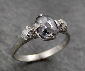 Fancy cut salt and pepper Diamond Multi stone Engagement 14k White Gold Wedding Ring Rough Diamond Ring byAngeline 1759