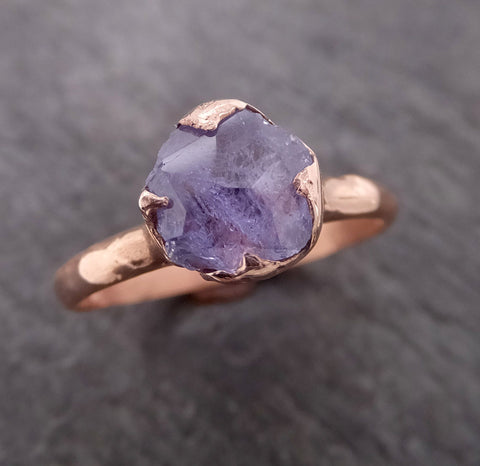 Partially Faceted Lavender Sapphire 14k rose Gold statement Cocktail Ring Custom One Of a Kind Gemstone Ring Solitaire 2108