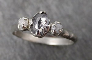 Fancy cut salt and pepper Diamond Multi stone Engagement 14k White Gold Wedding Ring Rough Diamond Ring byAngeline 1760