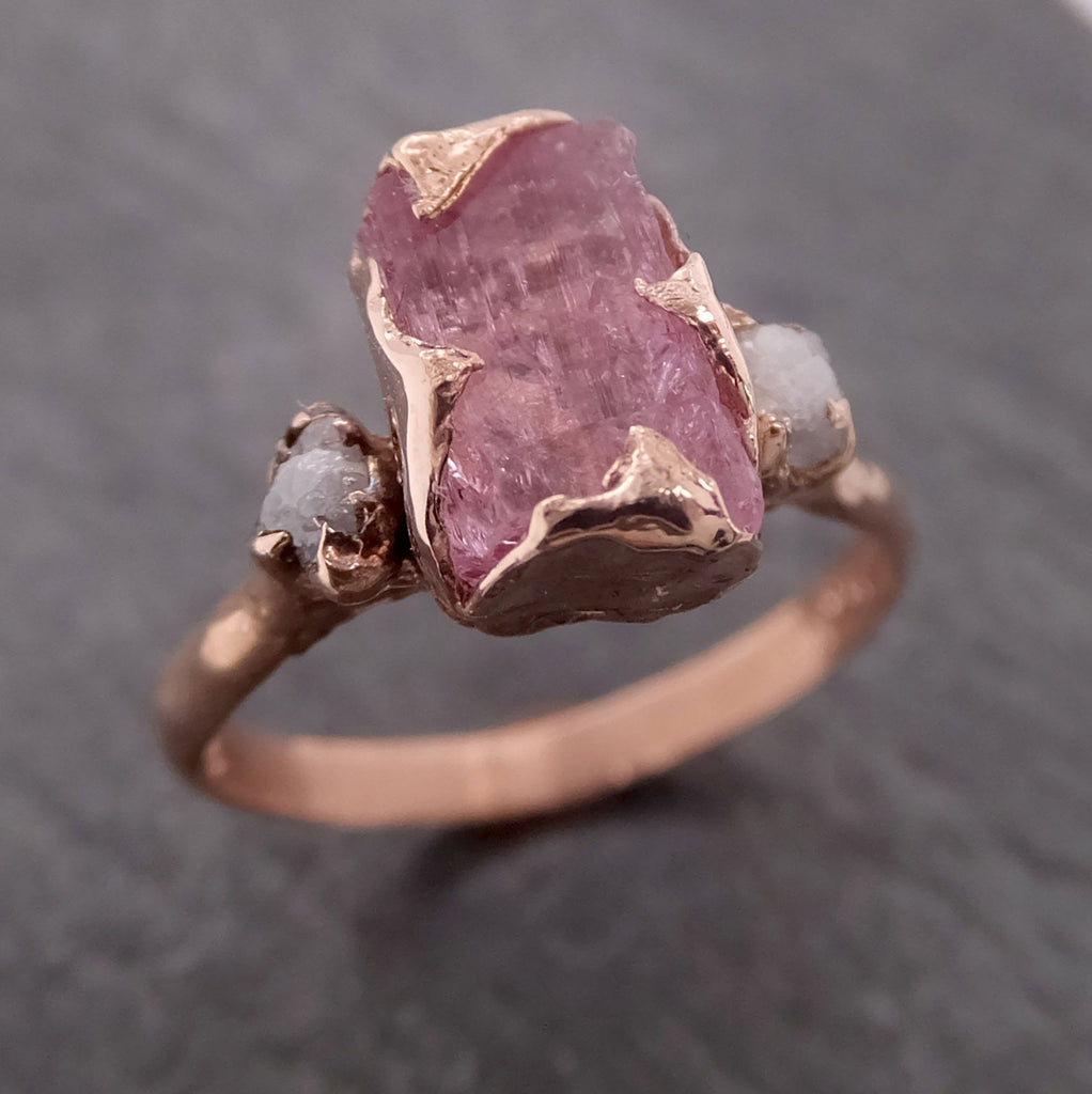 Raw Pink Topaz and rough Diamond Rose Gold Engagement Ring Wedding Ring Gemstone Bespoke Ring byAngeline 2111