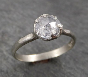 Faceted Fancy cut white Diamond Solitaire Engagement 14k White Gold Wedding Ring byAngeline 1755