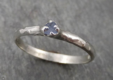 Dainty Sapphire Ring Solitaire Raw 14k white Gold Ring Custom One Of a Kind Gemstone byAngeline 1754