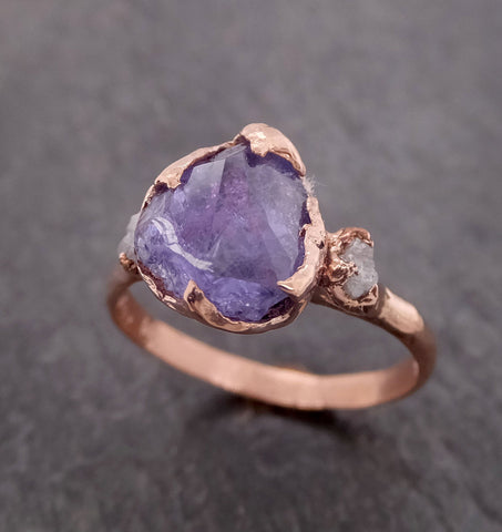 Partially Faceted purple Sapphire 14k Rose gold Multi Stone Ring Gold Gemstone Engagement Ring Raw 2110
