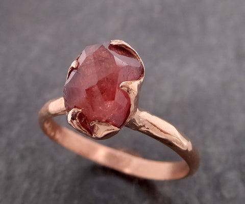 Partially Faceted Sapphire 14k rose Gold statement Cocktail Ring Custom One Of a Kind Gemstone Ring Solitaire 2109