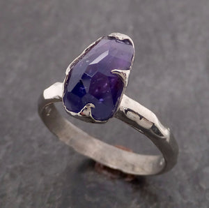 Partially Faceted Purple Sapphire Solitaire 14k white Gold Engagement Ring Wedding Ring Custom One Of a Kind Gemstone Ring 2116