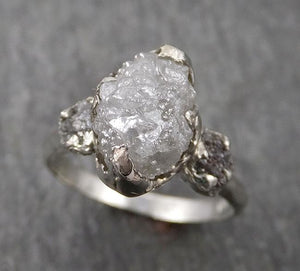 Raw Rough Diamond Engagement Stacking ring Multi stone Wedding anniversary White Gold 14k Rustic byAngeline 1771