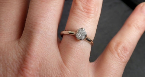 Rough Diamond Engagement Ring Raw 14k White Gold Ring Wedding Diamond Solitaire Rough Diamond Ring byAngeline 2117