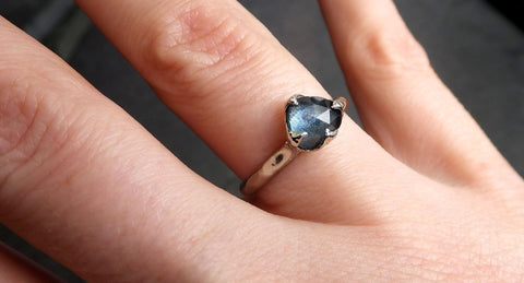 Fancy cut Montana Blue Sapphire 14k White gold Solitaire Ring Gold Gemstone Engagement Ring 2113